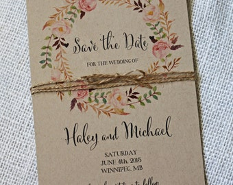 Rustic Boho Chic Wedding Save the Date, Save the date card, Kraft Card, Save our Date, Floral, Watercolour, Rustic, Vintage, Kraft