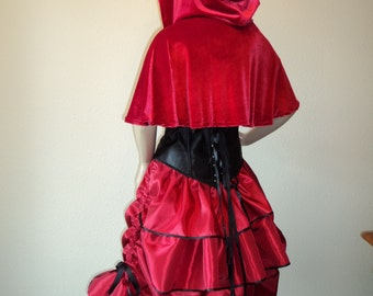 Red Riding Hood Complete Costume - 5 pieces  Bustle Skirt, Corset, Blouse, Capelet, Petticoat