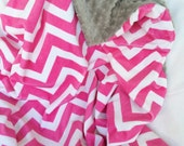 "29x38"" Double Minky Chevron in Hot Pink with Light Grey Minky Dot Super Soft and Cozy Ready to Ship Travel Blanket too"