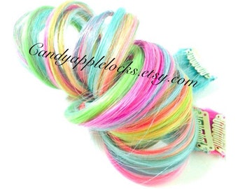 Hair Extensions,Pastel Rainbow Streak/Stripe, Tye Dye, Dip Dye Clip in Human Hair Extensions