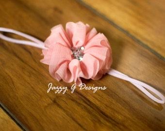 Pink Single Flower Baby Headband- Pink Toddler Headband-Photo Prop