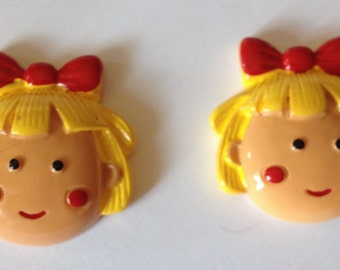 Rosy Cheeks Little Girl Doll Smiling Face Resin Cabochons Flat Back Hair Bow Center Crafts Decor Scrapbook Card Embellishments