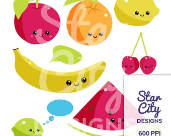 Kawaii clipart, Kawaii fruit clipart, Cherry clipart, Banana clipart, apple clipart, cute clipart, kawaii food clipart, kawaii art