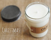 Christmas, 8oz Soy Candle in a Reusable Glass Jar