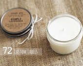 72 custom wedding, shower, party, or event favors. Handmade soy candles with personalized labels.