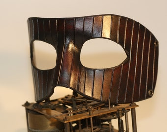 steampunk leather mask , stripes , made to order