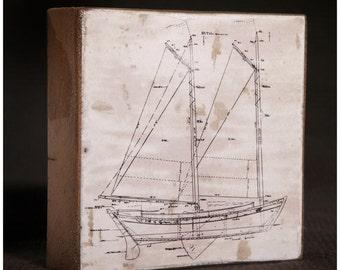 Vintage Sailboat Blue Print Reclaimed Wood Block Art Piece