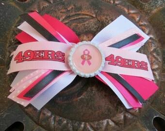 49er Breast Cancer Awareness bow