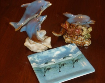 Vintage Fine  Handcrafted Glased  Porcelain Dolphine 2 Figurines 1 plate