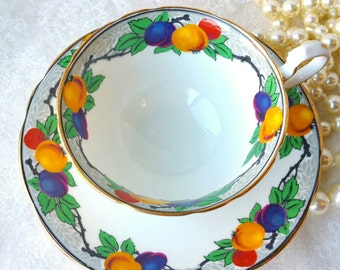 AYNSLEY Stunning Fruit Themed/ Cup and Saucer/ Tea Party / Classic Pattern /Made in England