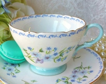 SHELLEY/Blue Rock/Vintage Bone China Tea Cup and Saucer/Blue Floral Tea Cup
