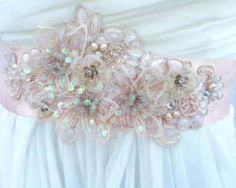 Lace Bridal Sash-Wedding Sash In Blush Pink With Cystals And Cultured Pearls, Wedding Dress Sash, Bridal Belt, Rhinestone Bridal Sash