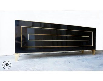 BUILT2ORDER // 4 Door Regency Credenza - Gold or Silver Accents // Custom Lacquer Colors & Sizes