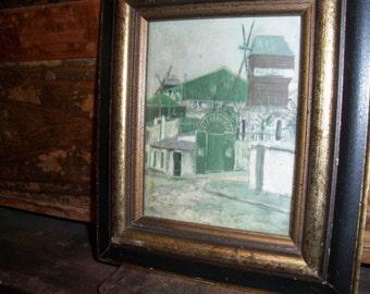 Vintage Framed Artwork Windmill Village