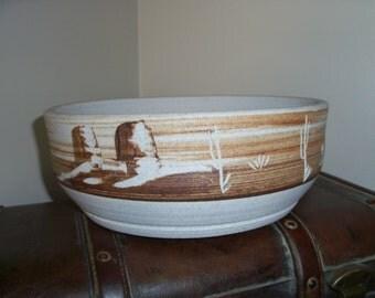 Large Vintage Ceramic Southwestern Bowl Centerpiece