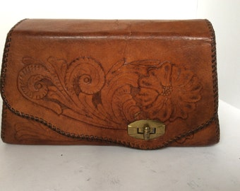 Handtooled box purse
