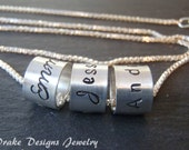 Hand stamped mom necklace kids names sterling silver mothers necklace mommy jewelry