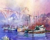 Newport Bay - Watercolor Print By Michael David Sorensen. Newport, Oregon Bridge Painting. Fishing Boats. Purple. Pacific Northwest Artwork.