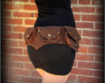 Brown canvas steampunk belt bag ~ vegan utility belt with pockets, brass ~ unisex men or women ~ cosplay money belt