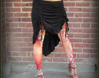 High Low Festival Skirt ~ Black Teal Burgundy Red ~ Boho Belly Dance Fusion Steampunk Festival Burning Man ~ Ruching Ruched