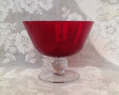 Ruby red glass footed bowl compote vase clear ball stem retro stemware romantic cottage chic home decor serveware serving centerpiece