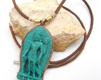 Buddha necklace, Women leather necklace, Esoteric, Amulet, Rustic leather necklace women,