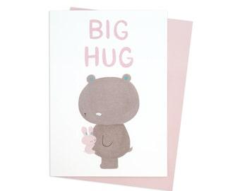Bunny and Bear Big Hug Greeting Card (Recycled paper. Blank inside)