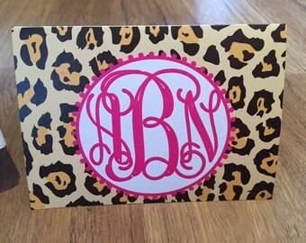 Leopard stationery, leopard stationary, leopard notes, leopard folded notes, leopard print stationery, leopard and pink notes, leopard fold