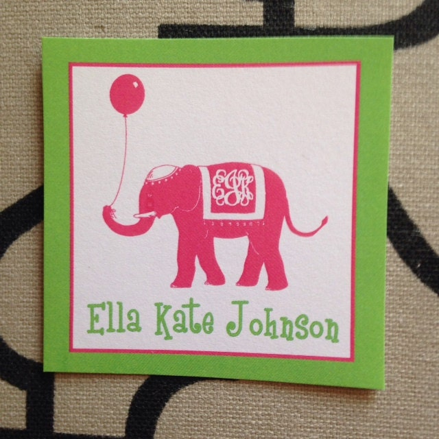Birthday Tags, Gift Enclosures, Elephant Gift Tags, Preppy