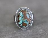 Pilot Mountain Turquoise, Turquoise Ring, Statement Ring, Sterling Silver, American Turquoise, Rusty Brown Matrix, Patina, Size 9