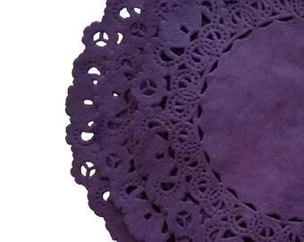 "EGGPLANT PURPLE Paper Lace Doilies | 4"" 6"" 8"" 10"" 12"" 14"" Sizes | Dyed Lace Plum Colored Paper Doilies | The Paper Doily Store"