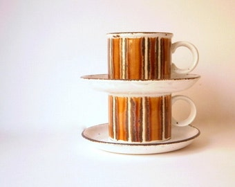 Vintage Cup and Saucer Sets, Midwinter Stonehenge Pottery, Earth Pattern Designed by Eve Midwinter. 70s Stoneware. Retro Cup Sets.