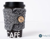 Gray crochet cup cozy, crochet mug cozy, coffee gift, office gift