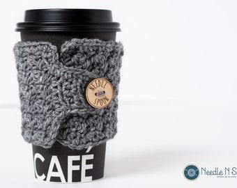 Gray crochet cup cozy, crochet mug cozy, coffee gift, office gift
