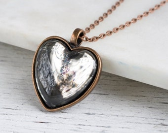 Silvered Glass Heart Pendant, Hand Silvered Glass Jewelry, Antique Copper Finish, OOAK
