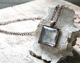 Hand Silvered Glass Pendant Necklace, Square Glass Pendant, Distressed Silvered Glass