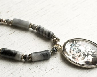 Mirrored Pendant Necklace, Gemstone and Grey Marble Necklace Hand Silvered Glass Pendant, Urban Design Jewelry.