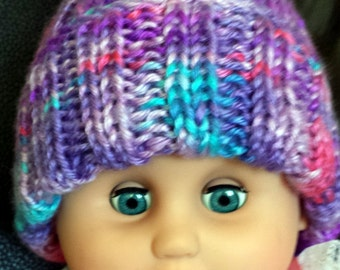 Baby Girl Hat Purple Hand knit Infant Girl Hat Newborn Baby Girl Hat Multicolor Soft Stretchy Warm Knit Baby Girl Beanie Baby Shower Gift!
