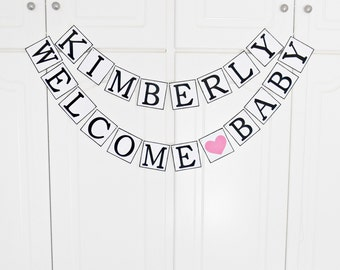 FREE SHIPPING, Personalized name Welcome baby banner, Welcome baby sign, Welcome home new baby, Photo prop garland,  Baby shower decor
