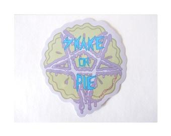 SKATANIST skake or pie satanic pastel goth sticker. Skateboard roller derby helmet ramp skating.
