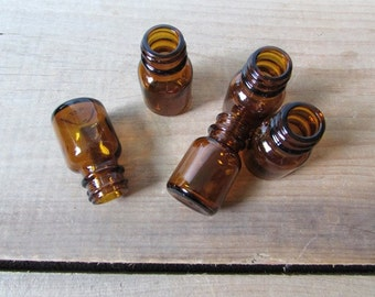 Amber Bottle Vintage Small Brown Bottle Apothecary or Perfume Bottle Wedding Favor NO CAP