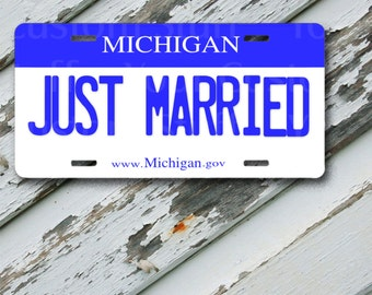 """License Plate Michigan Just Married  6"""" x 12""""  Aluminum Vanity License Plate"""