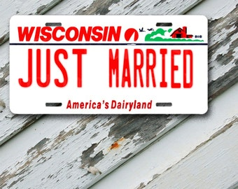 """License Plate Wisconsin Just Married  6"""" x 12""""  Aluminum Vanity License Plate"""