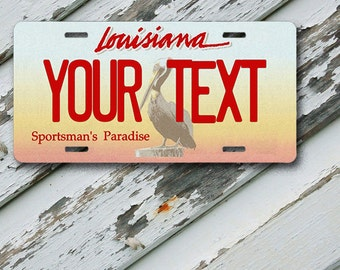 "License Plate Louisiana Customizable 6"" x 12""  Aluminum Vanity License Plate"