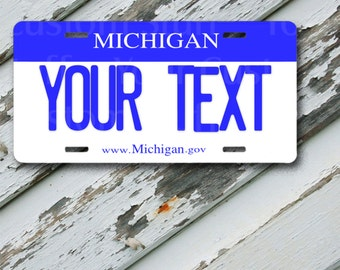 "License Plate Michigan Customizable 6"" x 12""  Aluminum Vanity License Plate"
