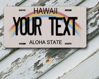 "License Plate Hawaii Customizable 6"" x 12""  Aluminum Vanity License Plate"