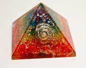 ORGONE 7 CHAKRA PYRAMID Strong Protection and Healing Over 2 Inches On Sale Now! Half off! Deeply Discounted!