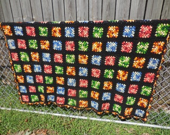 Vintage Granny Square Afghan Throw  AWESOME Condition