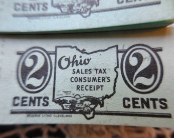 200 Vintage NOS Two Cent Ohio Sales Tax Consumers Receipt Jade Mint Green