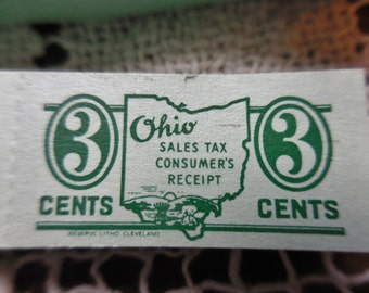 200 Vintage NOS Three Cent Ohio Sales Tax Consumers Receipt Jade Mint Green